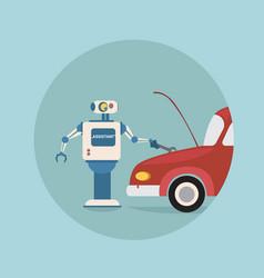Modern robot repair car futuristic artificial vector