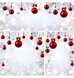 new year backgrounds with red christmas balls vector image