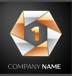 Number one logo symbol in the colorful hexagon on vector