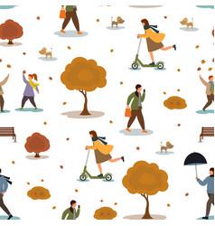 Pattern people in autumn park vector