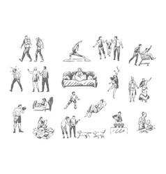 People lifestyle personal leisure concept sketch vector
