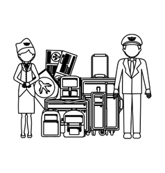 Pilot stewardess and baggage design vector