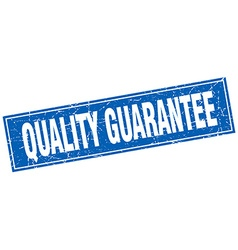 Quality guarantee blue square grunge stamp on vector