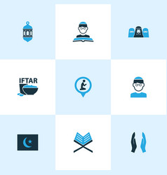 Ramadan icons colored set with koran dua vector