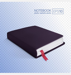 realistic black book with bookmark vector image