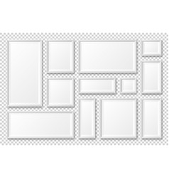 Realistic blank white picture frame with shadow vector