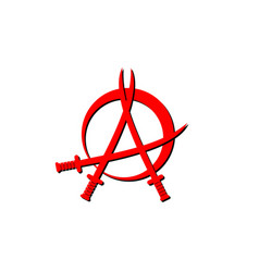 Red anarchy sign with three sword shape element vector