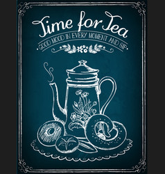 Retro time for tea with teapot and bakery vector