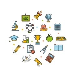 School Round Design Template Thin Line Icon vector image