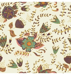 Seamless pattern with flowers and leaves in vector image vector image