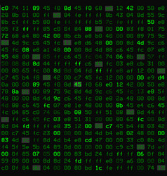Seamless pattern with hex program code in green vector