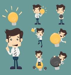 Set of businessman characters make idea vector image