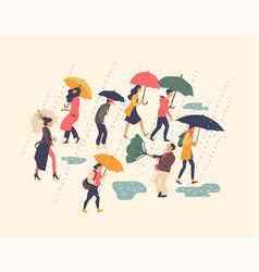 set on various people walking in rain holding vector image