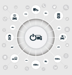 Set simple automobile icons vector