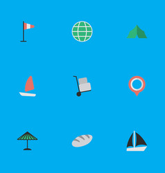 set simple vacation icons vector image