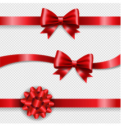 silk red bow and transparent background vector image