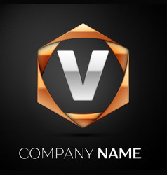 silver letter v logo symbol in golden hexagonal vector image
