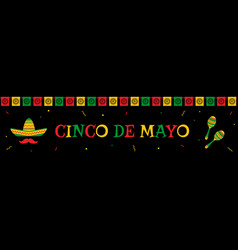 sombrero and maracas cinco de mayo web banner vector image