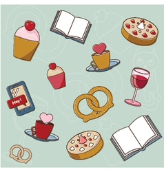 Tasty and cosy things and food vector