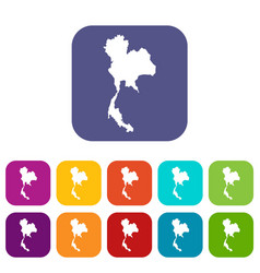 thailand map icons set vector image