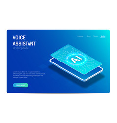 voice assistant in your phone artificial vector image