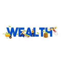 Wealth concept money management cash piling vector
