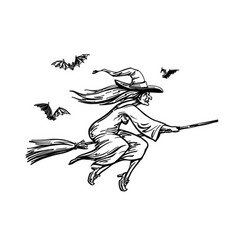 Witch flying on broomstick halloween sketch vector