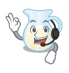 With headphone glass jug fresh milk on cartoon vector