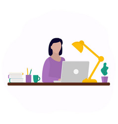 Woman works at a laptop fashion trend vector