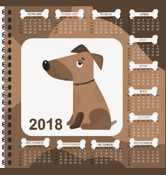 year of the dog wall calendar for 2018 from vector image