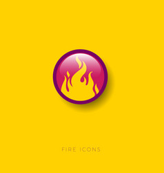 Yellow fire icon round glossy button vector
