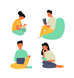young people students seating and read work vector image