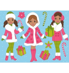 African American Christmas Girls Set vector image vector image