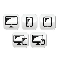 Computer tablet smartphone buttons set vector image vector image