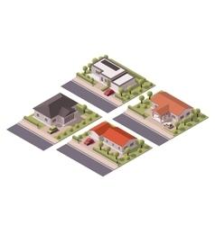 isometric houses set vector image vector image