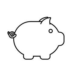 piggy money cash safety outline vector image vector image