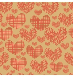 Seamless pattern with embroidery of hearts vector image