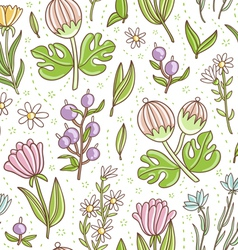 Wild floral colorful seamless pattern vector image