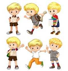 Boy with blond hair in different actions vector image