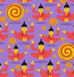Buddha seamless pattern Seated Buddha in lotus vector image