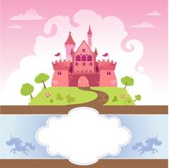 Card with cartoon castle vector