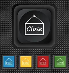 close icon sign symbol Squared colourful buttons vector image