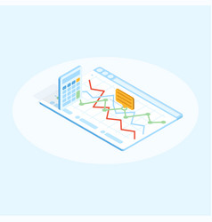 flat isometric of calculator and vector image