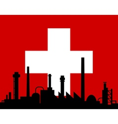 Industry and flag of Switzerland vector image vector image