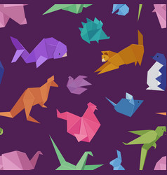 origami style of different paper animals geometric vector image