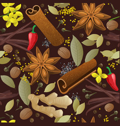 seamless pattern with different spices vector image
