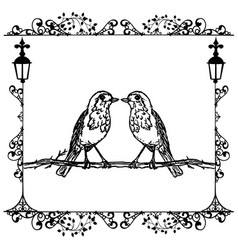 two birds in a frame vintage vector image vector image