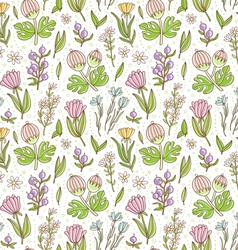 Wild floral colorful seamless pattern background vector image
