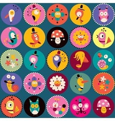 flowers birds mushrooms snails characters circles vector image vector image