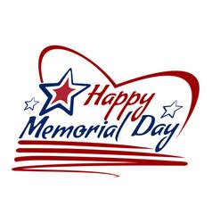 happy memorial day lettering card design vector image vector image